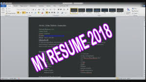Simple Resume Basic 2018 Paano Gumawa Ng Resume Youtube