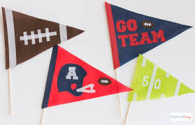 Homemade Super Bowl Decorations Super Bowl Party Decorations NoSew Pennants PomPoms Atta 22