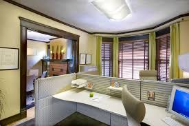 office interior decorating. Office:Winsome Modern Home Office Interior Design With Cubical Table Also Bay Window Plus Green Decorating A