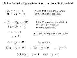solve the following system using the elimination method