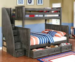 Image Loft Bed Twinfull Jordan Bunk Bed In Weathered Grey With Staircase Waterford Trundle And Clip Rooms4kids Twinfull Jordan Bunk Bed Rooms4kids