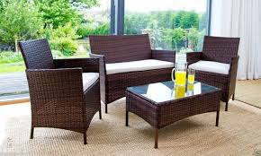 rattan garden furniture brown 4 piece