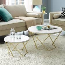 modern nesting coffee table set white marble gold