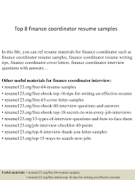 top8financecoordinatorresumesamples 150410043203 conversion gate01  thumbnail 4jpgcb1428640336