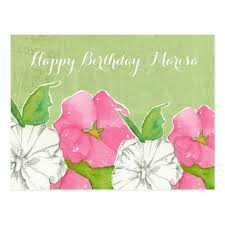 happy birthday pink and green pink hollyhocks watercolor flowers happy birthday postcard zazzle com