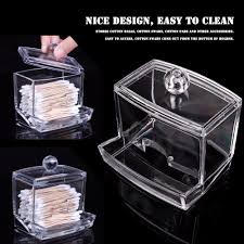 New Creative Clear Acrylic Q Tip Storage Holder Box Transparent Cotton  Swabs Stick Cosmetic Makeup Organizer Case High Quality