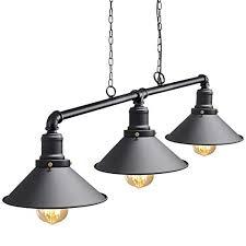 Industrial Suspended Ceiling Pendant 3 Lamp Black <b>Metal</b> Water ...