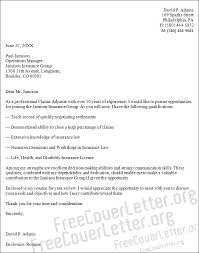 Insurance Adjuster Cover Letter Letter Of Recommendation