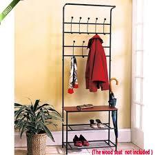 entryway storage bench coat rack black metal wood seat shelf hall tree rustic hm