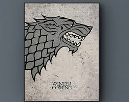 Game Of Thrones Stark House Crest Wooden Plaque House stark print Etsy 36