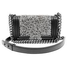 Embassy Studded Italian Stone Design Genuine Lambskin Leather Purse Chanel Swarovski Crystal Boy Bag Black Leather With