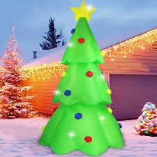 Fanshunlite Christmas Inflatable 9ft Led Color Changing Christmas Tree Lighted Blow Up Yard Party Decoration Xmas Airblown Inflatable Outdoor Indoor