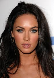 megan fox in a smoky charcoal cat eye with lips