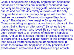 the myth of sisyphus 16 camus concludes his essay