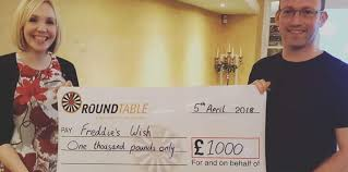 on the 5th april i was delighted to be invited to attend a rugby round table dinner to be presented with an extremely generous donation of 1000 as we