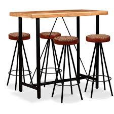 Vidaxl Bar Set 5 Tlg Sheesham Holz Massiv Echtleder Und