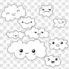 Schattig Wolken Kleurplaat Pagina Stockvector Ukiartdesign