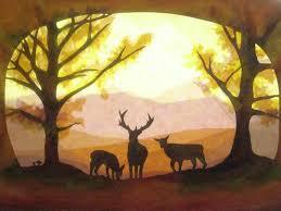 Fensterbilder Hirsche Im Herbst Wald Von Art 4 Windows Auf