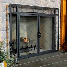 fireplace spark screen glass doors with screens peacock brass fender gas covers fitted brushed nickel magnet