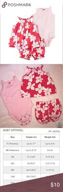 Carters Baby Girls 3 Piece Bodysuit Short Set Carters