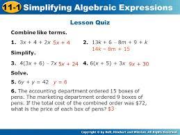 18 simplifying algebraic expressions