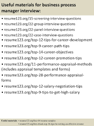 ... 15. Useful materials for business process manager ...
