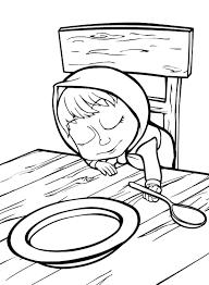 Disegno Di Masha Che Dorme Sul Tavolo Da Colorare Per Bambini