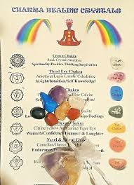 Crystal Chakra Stone Set 7 Engraved Gemstones In Pouch