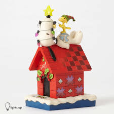 Enesco - Jim Shore Peanuts Snoopy's Christmas Dog House Light-up ...