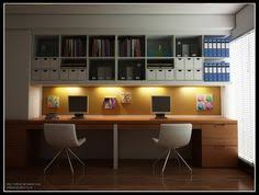 alluring modern home office design with brown desk with white office chairs and white open shelves with books along with dark brown floor tile use jk to alluring person home office design