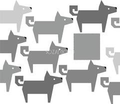 かわいい白黒の犬イラスト無料切り絵風の戌柄82797 素材good