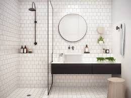 white bathroom ideas with white subway tile bathroom and floating vanity  and sink plus shower room