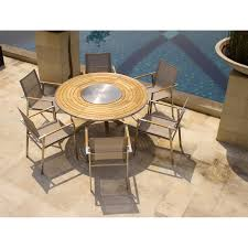teak outdoor table set signature steel teak round table with batyline teak steel stacking chairs