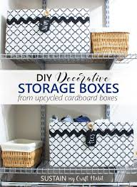 diy decorative storage boxes upcycled cardboard box storage containers how to make fabric covered