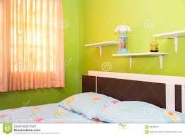 Grünes Schlafzimmer Und Rosa Vorhang Haben Lampen Und Bett Mit