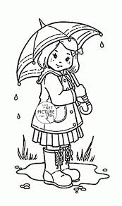 Coloring Pages With Umbrellas Best Of Girl And Umbrella Coloring