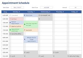 Scheduling Matrix Template Appointment Schedule Template For Excel
