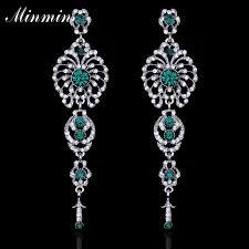 green crystal long drop earrings bridal trendy jewelry fl chandelier earrings for women wedding eh237 high quality earrings bri china drop earring