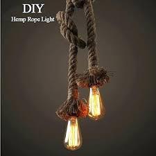 1 light art hemp rope light creative hemp rope chandelier long send 1 bulb