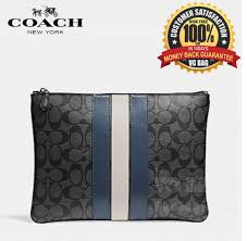 COACH F26071 Large Pouch Bag in Signature Canvas with Varsity Stripe   Midnight Nvy Denim