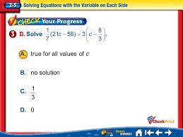 a 2 b 3 c 4 d lesson 5 cyp3 b a true for all values of c b no solution c d 0
