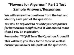 "flowers for algernon test review ppt  ""flowers for algernon"" part 1 test sample answers responses """