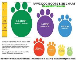 Bond And Co Dog Size Chart Dog Booties Guide Dog Boot Size Chart Canine Styles