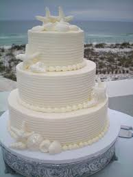 3 Tier Buttercream Wedding Cake And White Chocolate Seashells