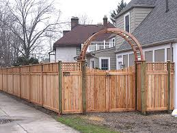 Small Picture Wood Arbor With A Scalloped Double Gate Wood Semi Private Fence