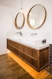 melbourne floating bathroom vanity contemporary with timber veneer industrial pendant lights