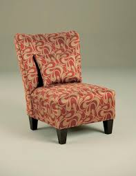 furniture armless accent chair with red and gold cover pattern color plus wooden leg ideas