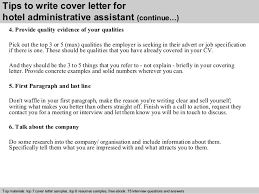 hotel administrative assistant cover letter      tips to write cover letter for hotel administrative assistant