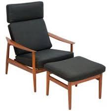 danish teak reclining lounge chair with ottoman fd 164 by arne vodder