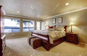 Large Bedroom Master Bedroom Wtih Large Bed And Water View Stock Photo Picture